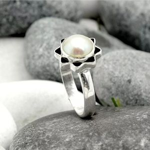 Natural Pearl 925 Sterling Silver Handmade Ring Je